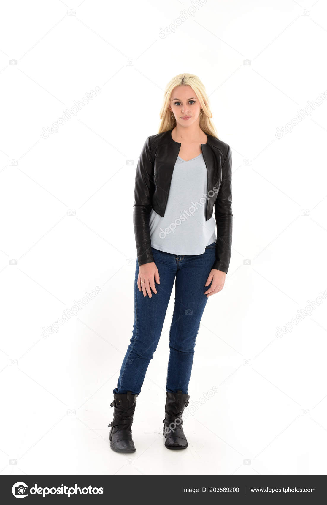 Full Length Portrait Blonde Girl Wearing Leather Jacket Jeans