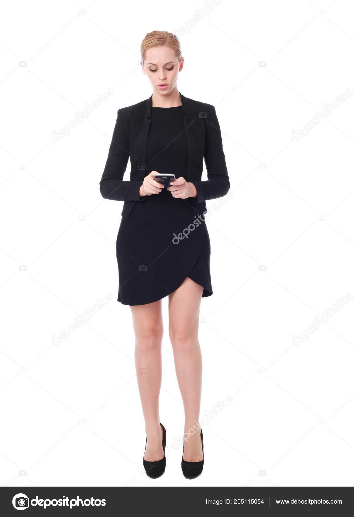 eae0f8c9cac In voller Länge Portrait eine attraktive berufliche Frau trug Schwarzes  Kleid