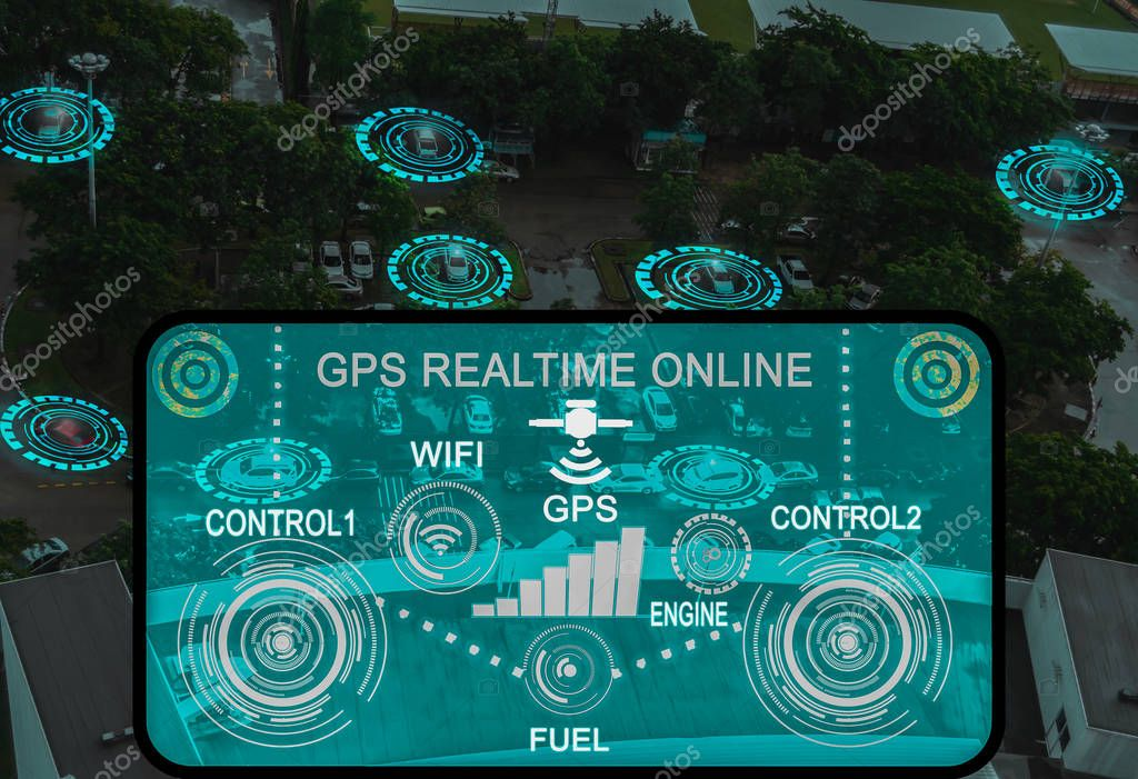 op view futuristic user interface and graphic,intelligent vehicle contro