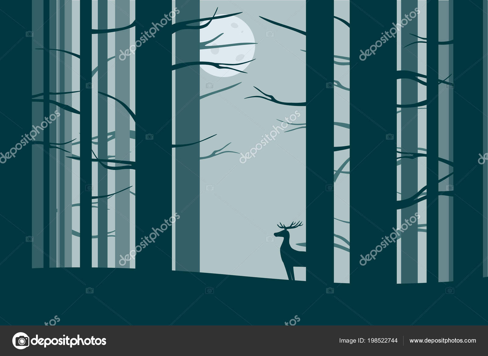 deer night forest stock vector st birdy 198522744