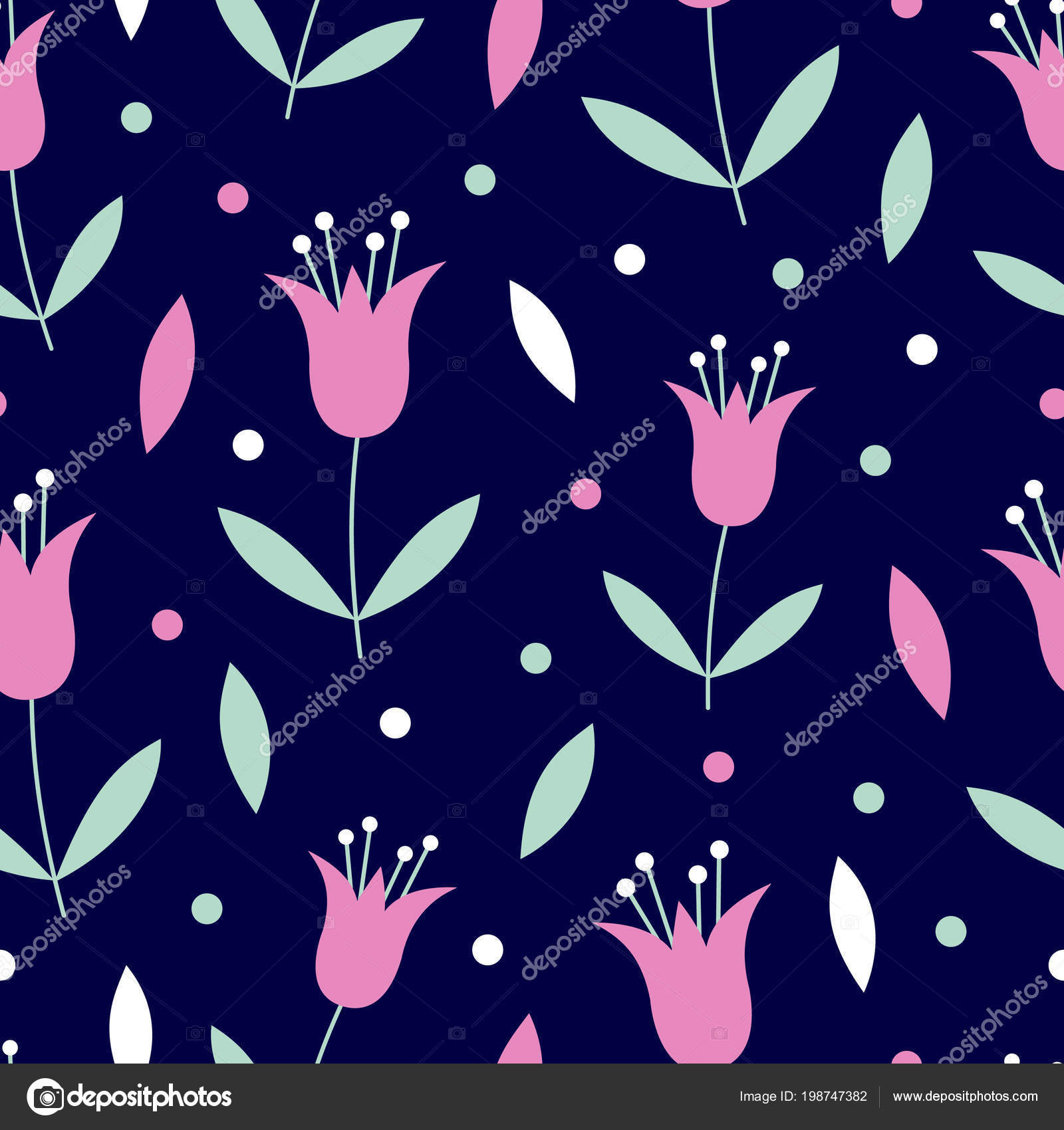 Vector Seamless Pattern Pink Mint Green Flowers Leaves Navy Blue