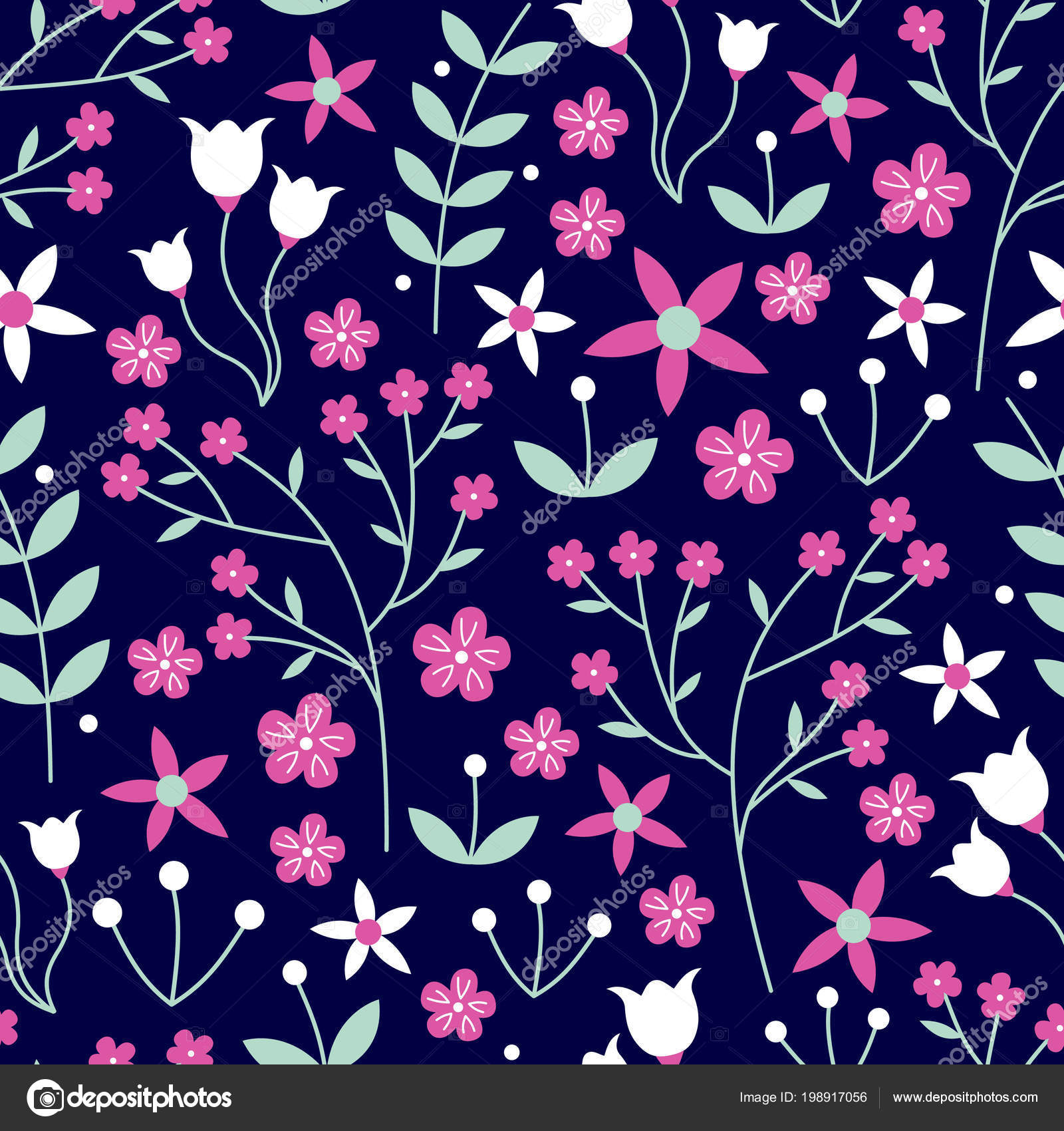 Vector Seamless Pattern Mixed Flowers Laurels Leaves Hot Pink
