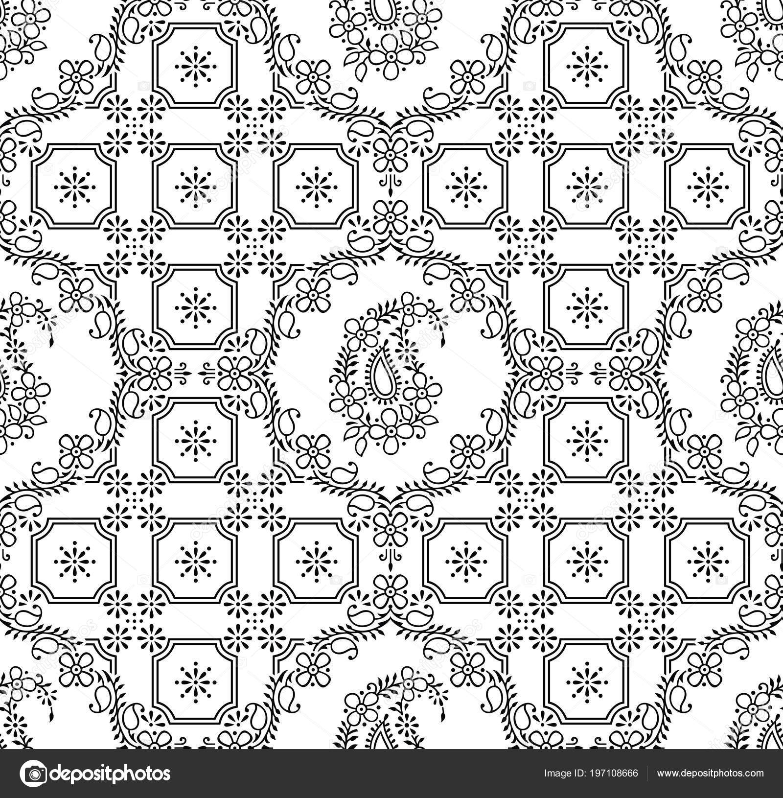 Seamless Traditional Indian Black White Paisley Wallpaper Stock Vector