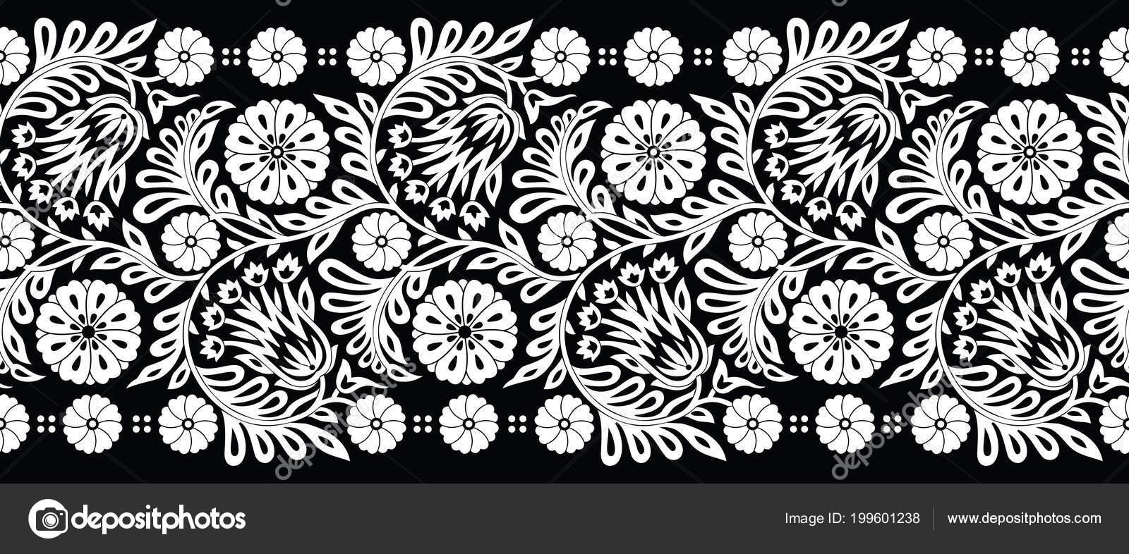 Black And White Flower Border Design Seamless Black White Flower Border Stock Vector C Malkani 199601238