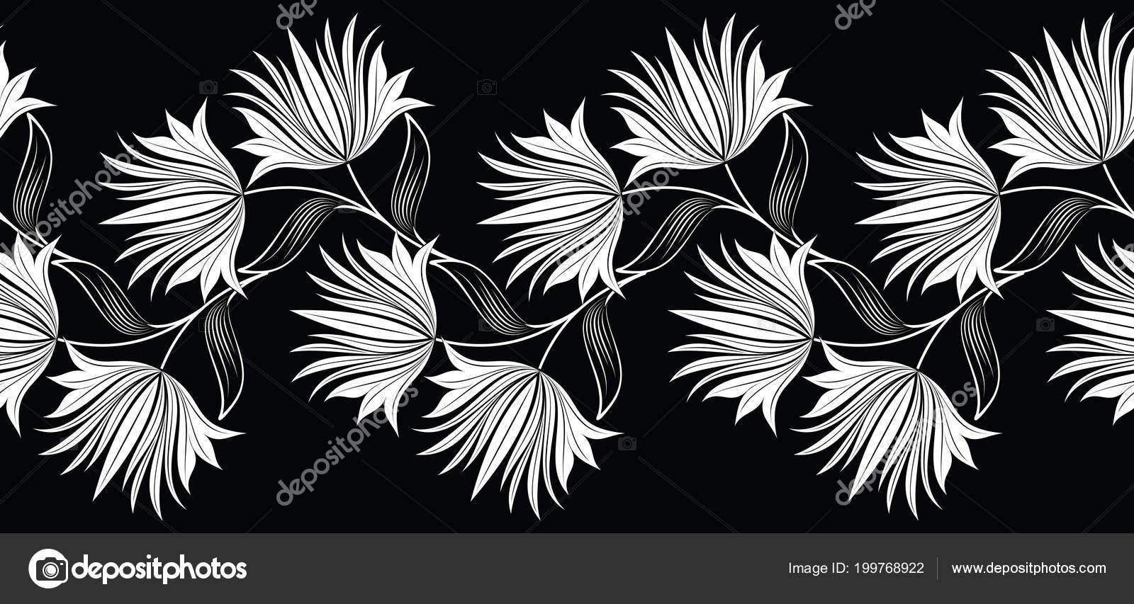 Seamless Black White Flower Border Stock Vector Malkani 199768922