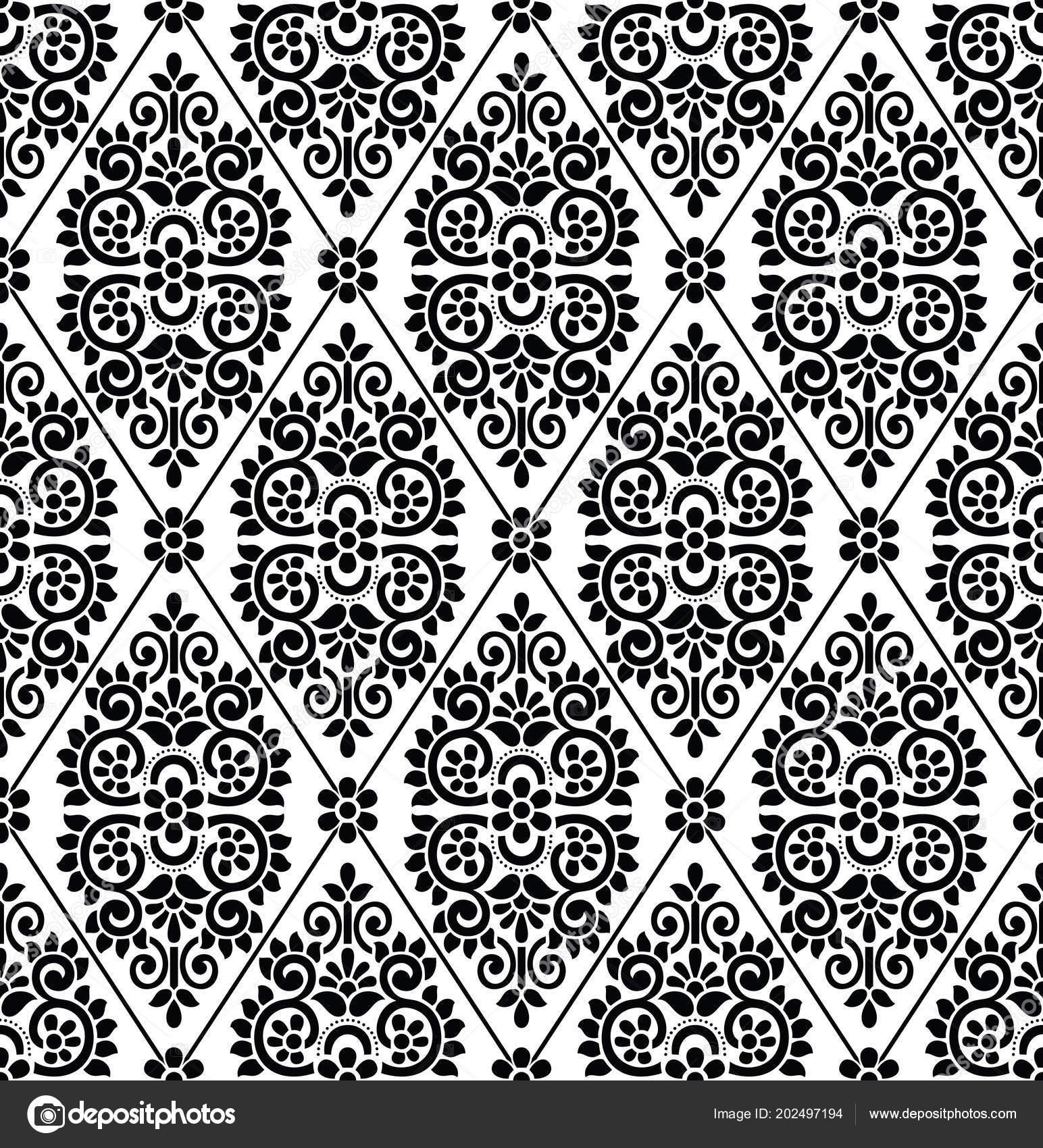 Seamless Black White Damask Wallpaper Stock Vector
