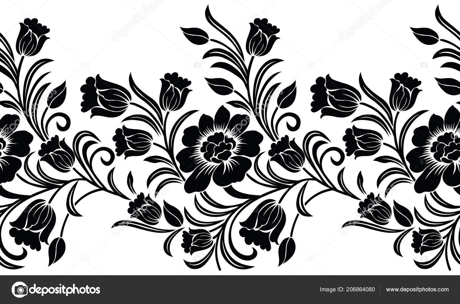 Seamless black white floral border design stock vector