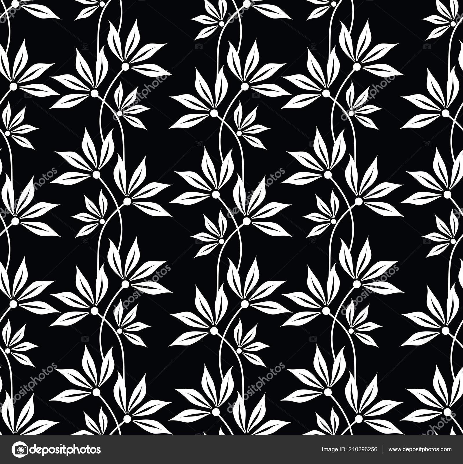Seamless Black White Cute Leaves Pattern Design Vector Image By C Malkani Stock 210296256