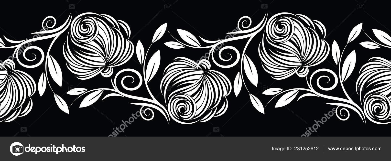 Seamless Black White Abstract Rose Flower Border Design