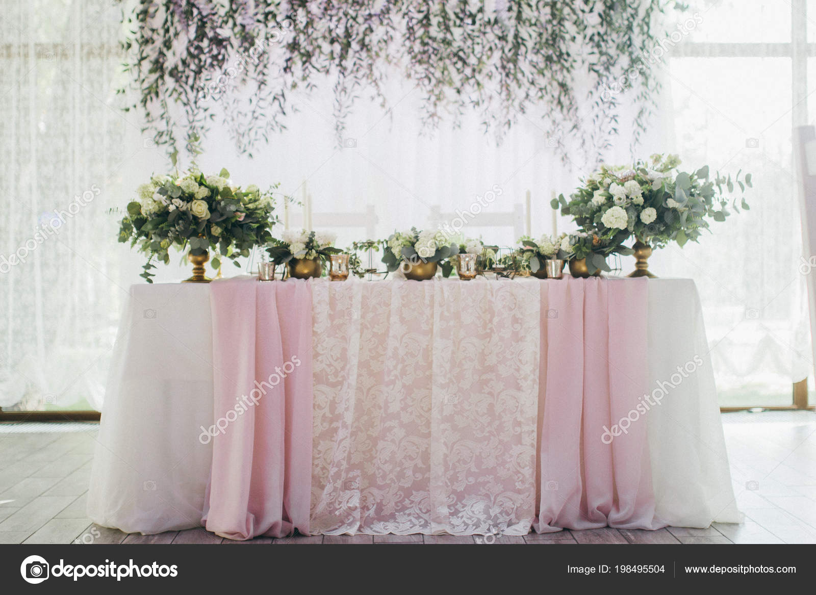 Beautiful Wedding Day Table Decoration Decor Stock Photo