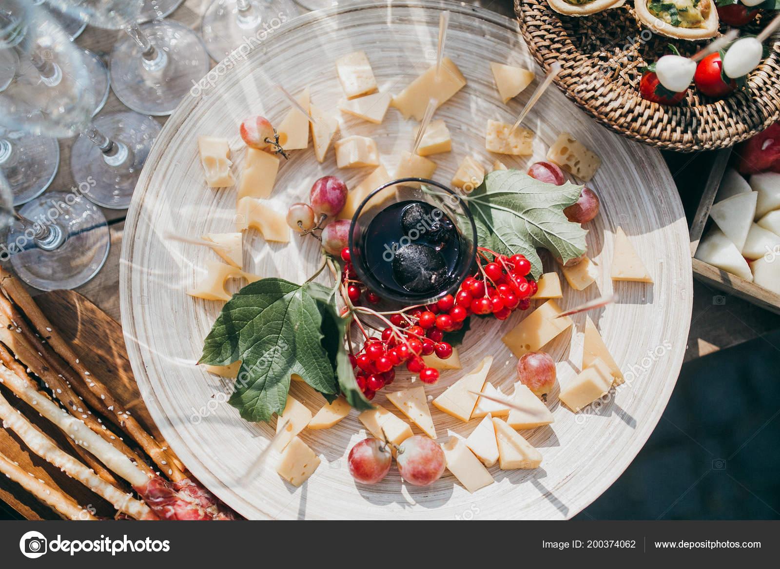 Delicious snacks at wedding reception, close up