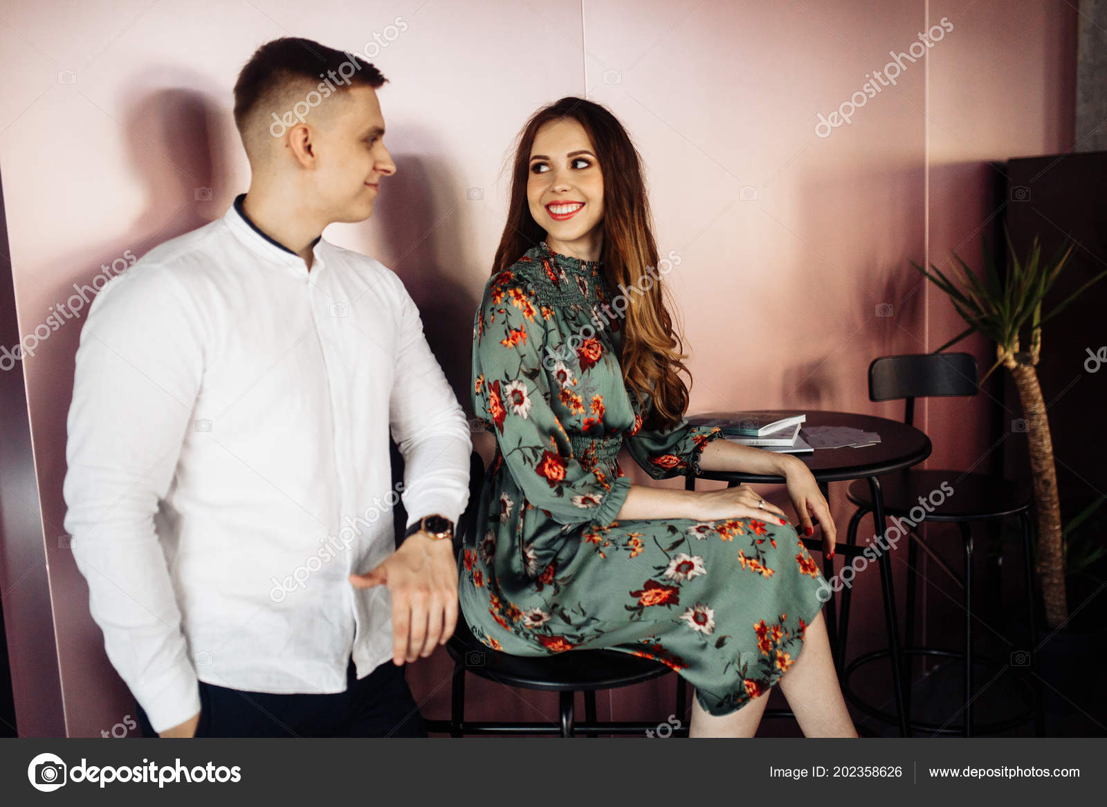 Happy Beautiful Young Couple Posing Cafe Stock Photo C Shunevich 202358626