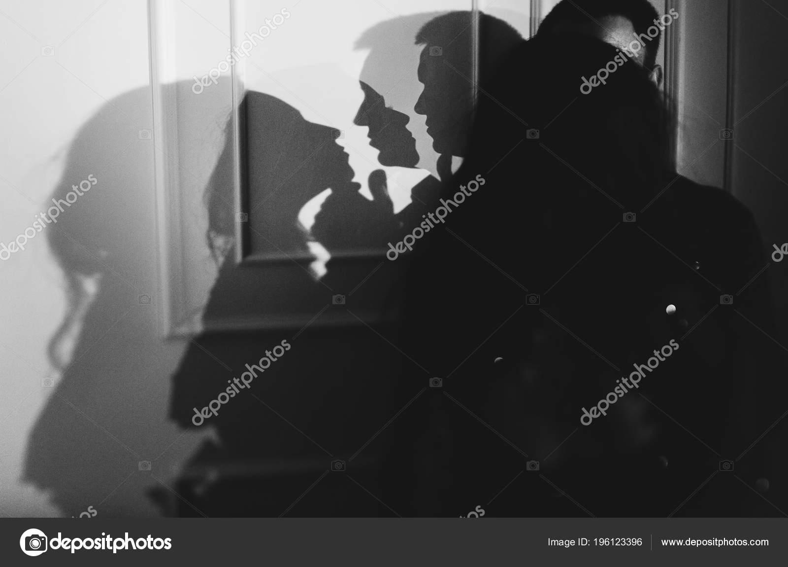 Primer Plano Retrato Pareja Sensual Atractivo Romantico Abrazo Amor