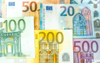 Close view of Euro banknotes with different nominal value