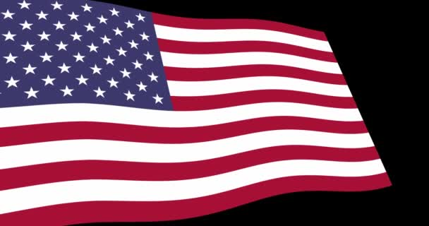 Animation 4K footage of flag of United State of America slow waving on black background, perspective view