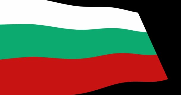 Animation 4K footage of Bulgaria flag slow waving on black background, perspective view