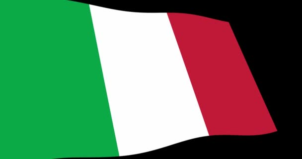 Animation 4K footage of Italy flag slow waving on black background, perspective view