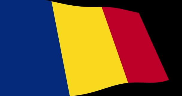 Animation 4K footage of Romania flag slow waving on black background, perspective view