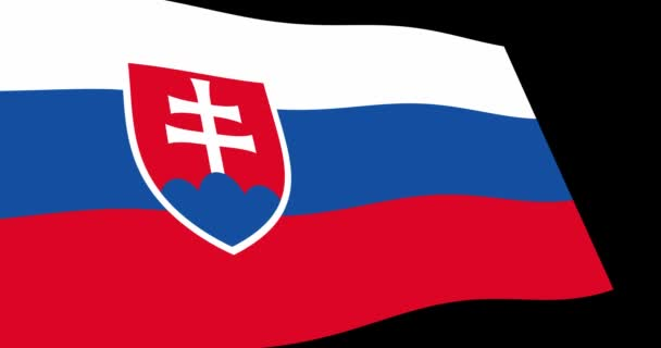 Animace 4k záběry z Slovensko vlajka pomalu mává na černém pozadí, zobrazení Perspektiva