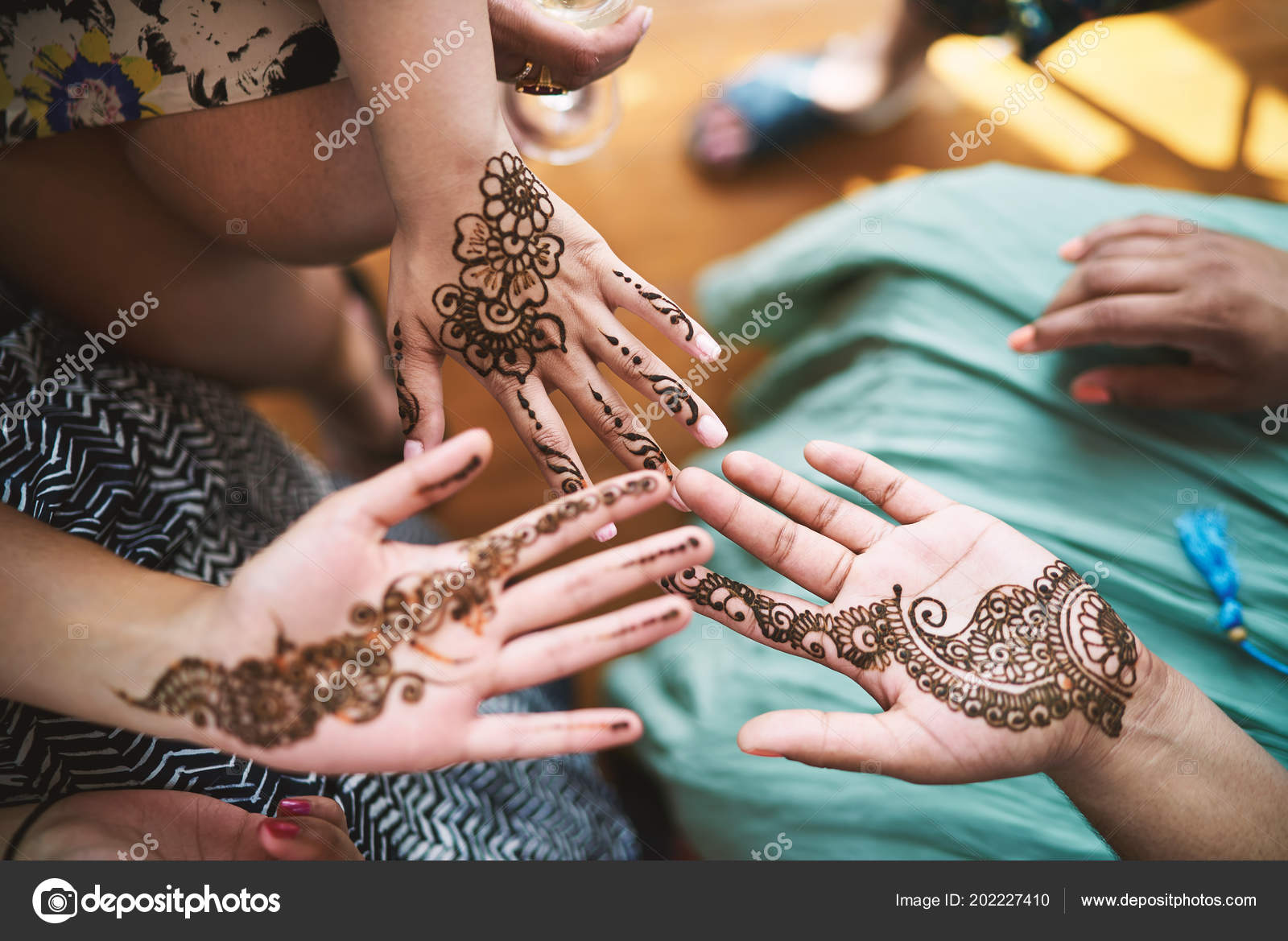 Indian Women Showing Hand Henna Tattoo Art Mehndi Indian Wedding