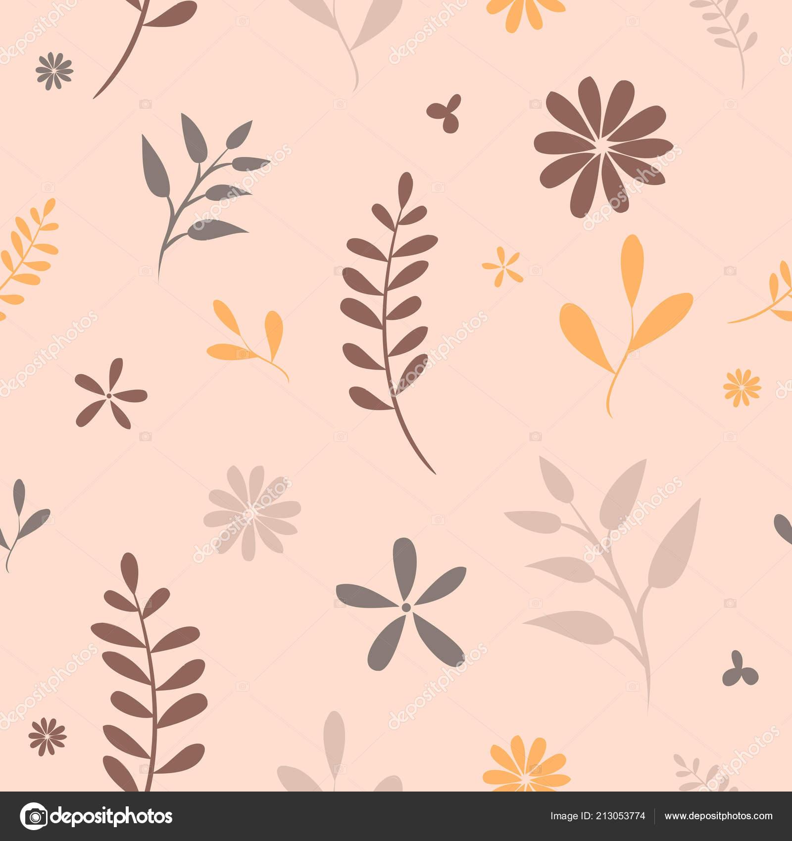 Blumen Ornamente Herbst Blatter Hand Zeichnen Musterdesign Retro