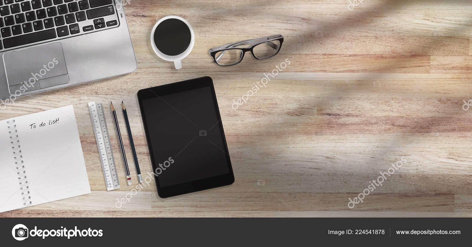 Coffee time concept design banner top view modern office desk