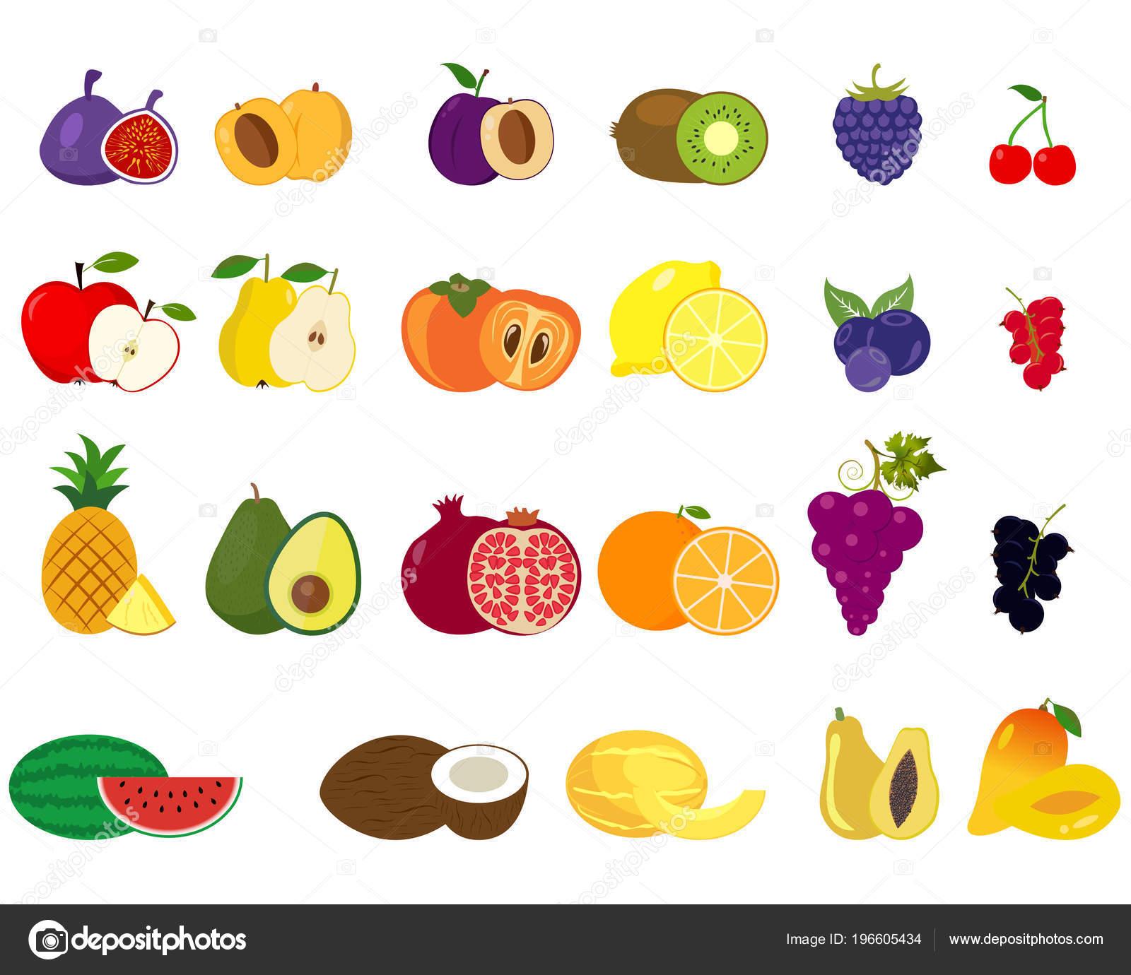 8a544d33f6c Set Van Verschillende Soorten Fruit Pictogrammen Collectie Vlakke Design  Iconen — Stockvector
