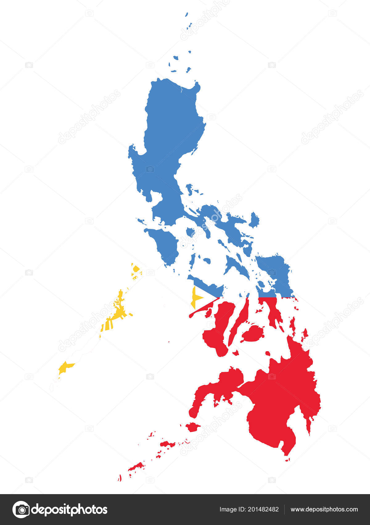 Flag Map Philippines Flag Philippines Overlaid Detailed Outline Map