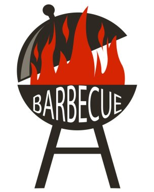 Barbecue icon in black style isolated on white background. Portable round barbecue with red cap and fire