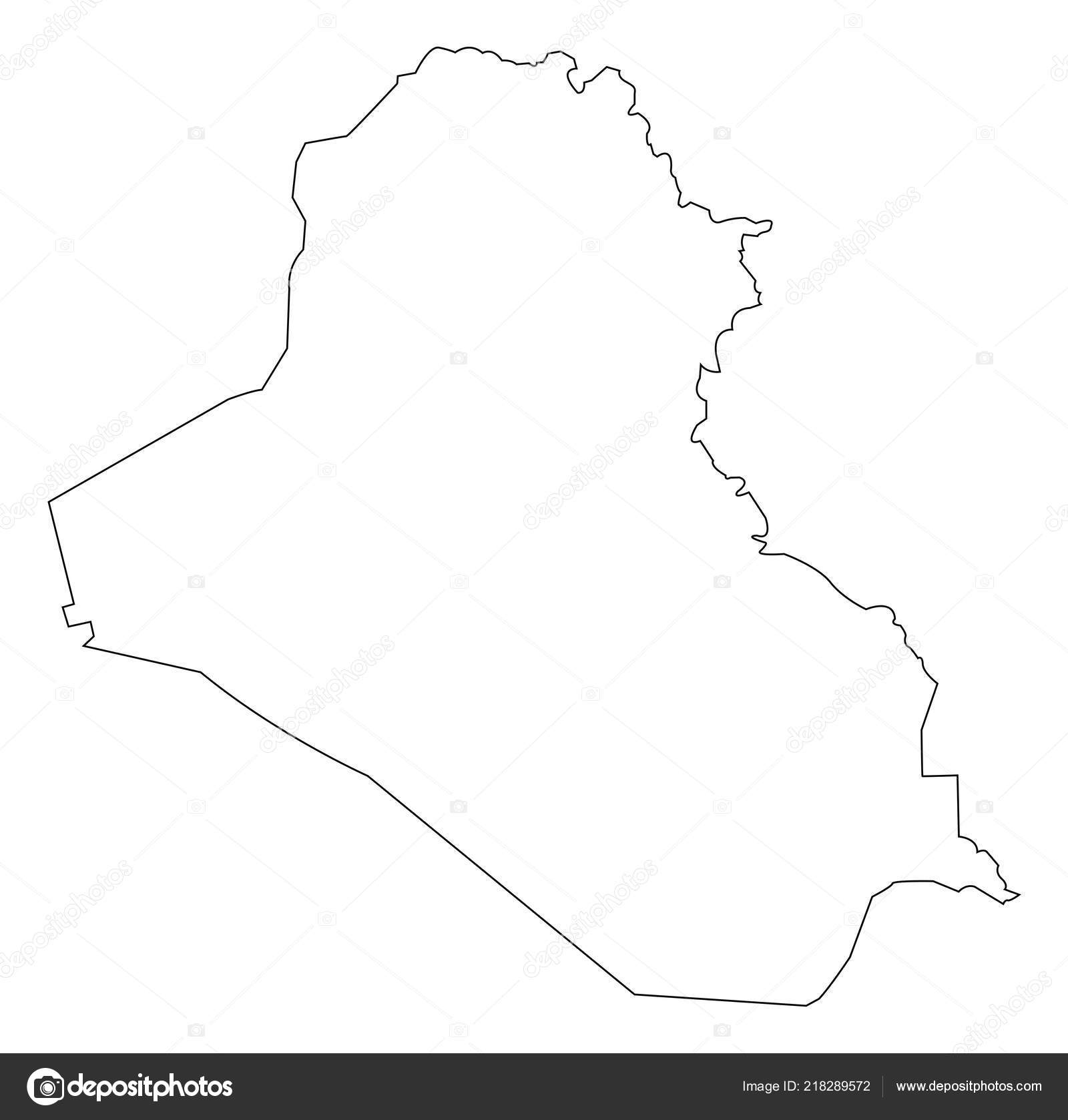 Iraq Map Outline Vector Illustration Isolated White Background