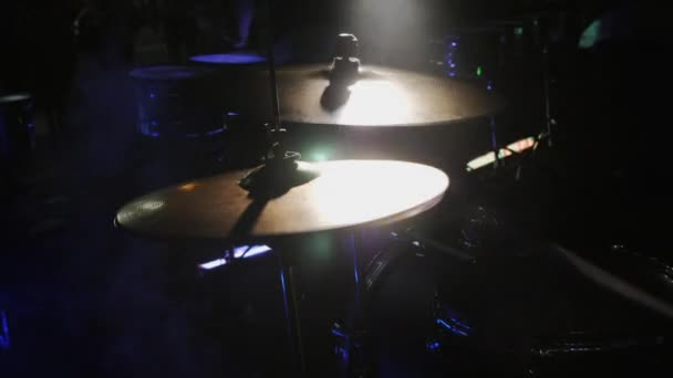 Slow Motion. Drummer Hand Playing Drum Plate on Rock Concert