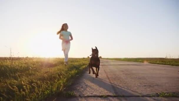 Dítě, chůze, běh a hrát si s psy, děti lásky štěňata, zvířata. Pomalé moton při západu slunce