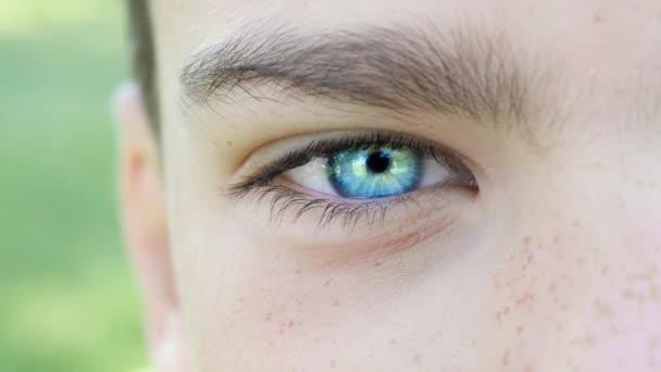 Blaues Auge eines Jungen aus nächster Nähe