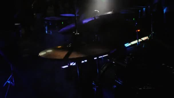 Drummer Hand Playing Drum Plate on Rock Concert