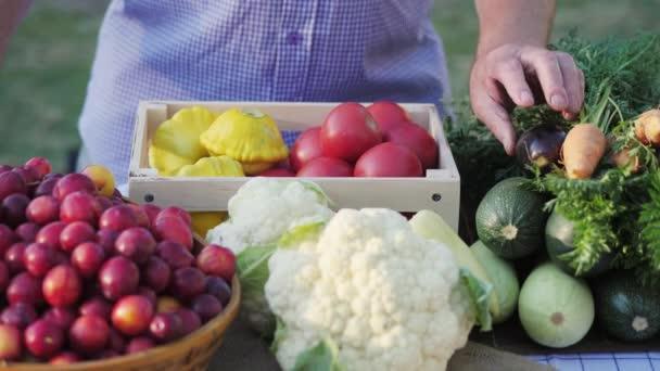 Pohled shora tabulky s čerstvou zeleninou