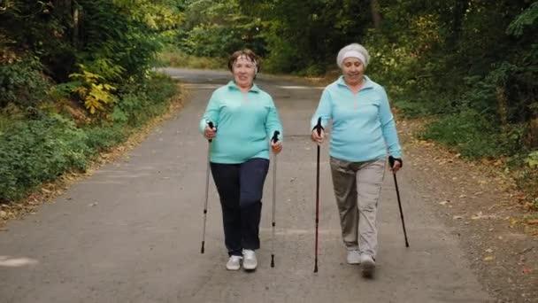 Starší ženy s trekkingovými tyčemi chodí v přírodě