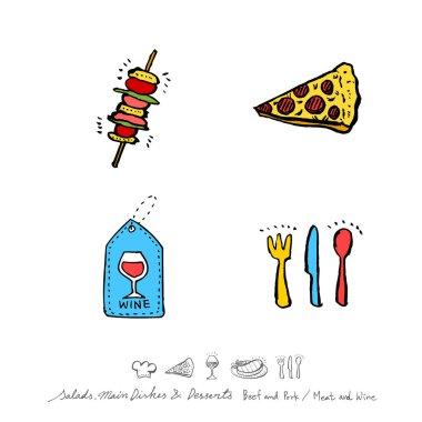 Restaurant poster / Sketchy food menu illustrations - vector