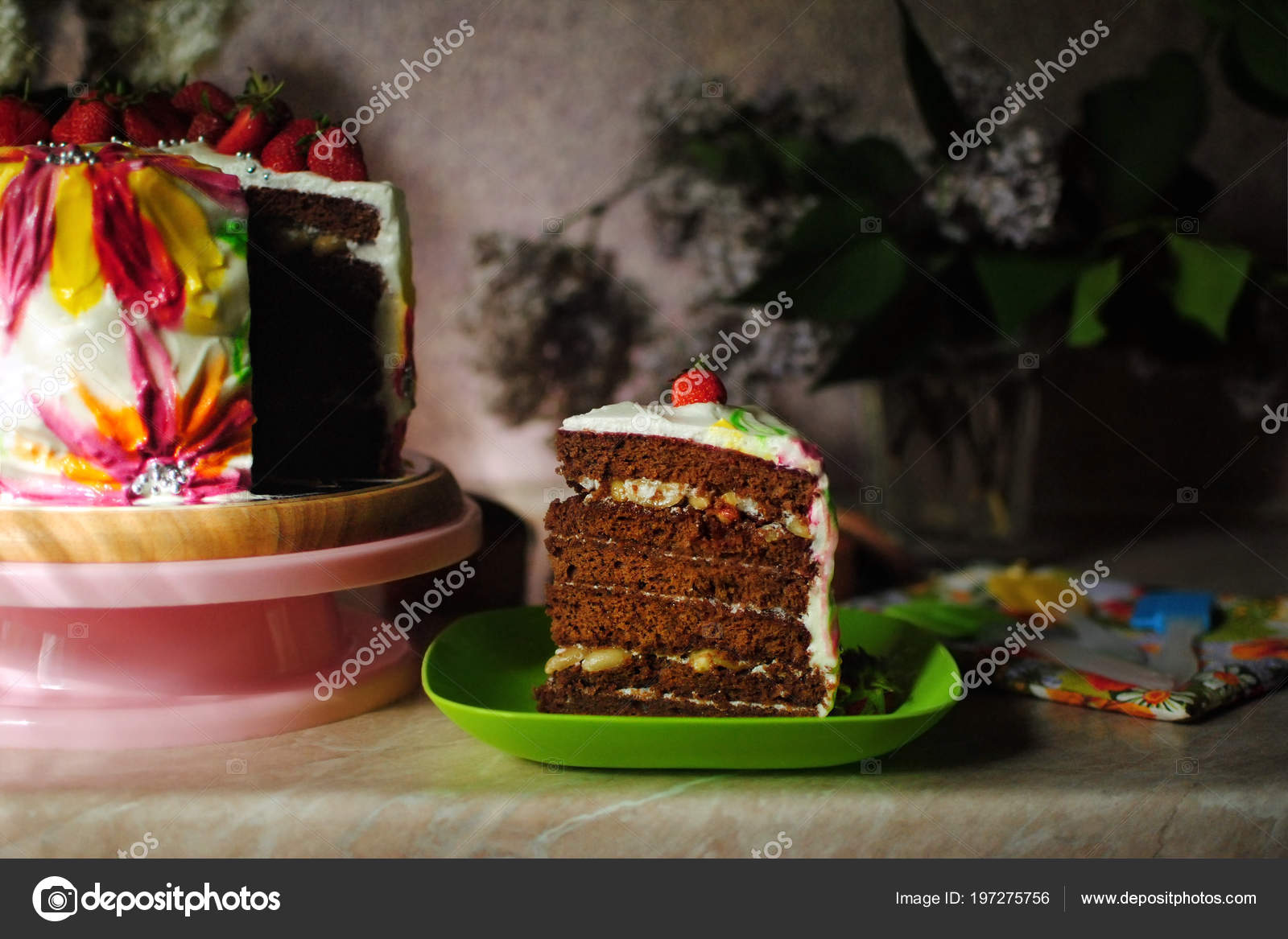 Birthday Cake Festive On A Marble Table Plate Stand Photo By OlhaSafronova