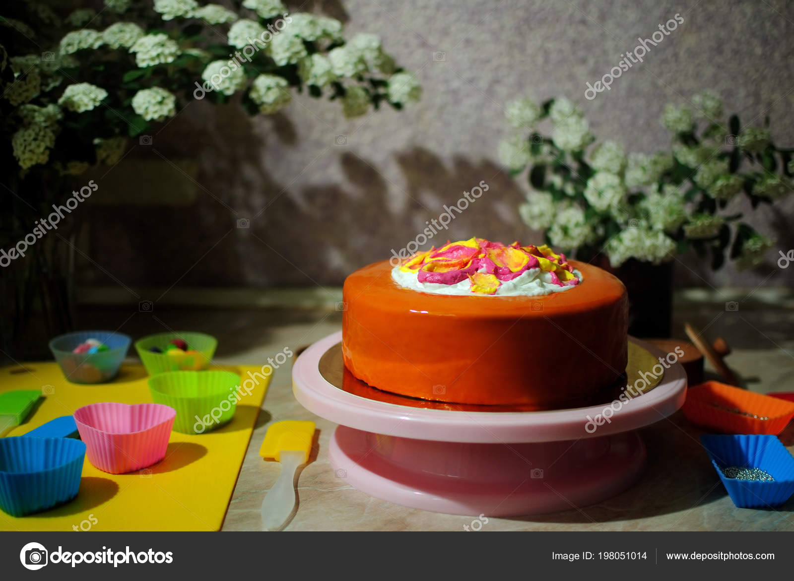 Birthday Cake Festive On A Marble Table Stand Photo By OlhaSafronova