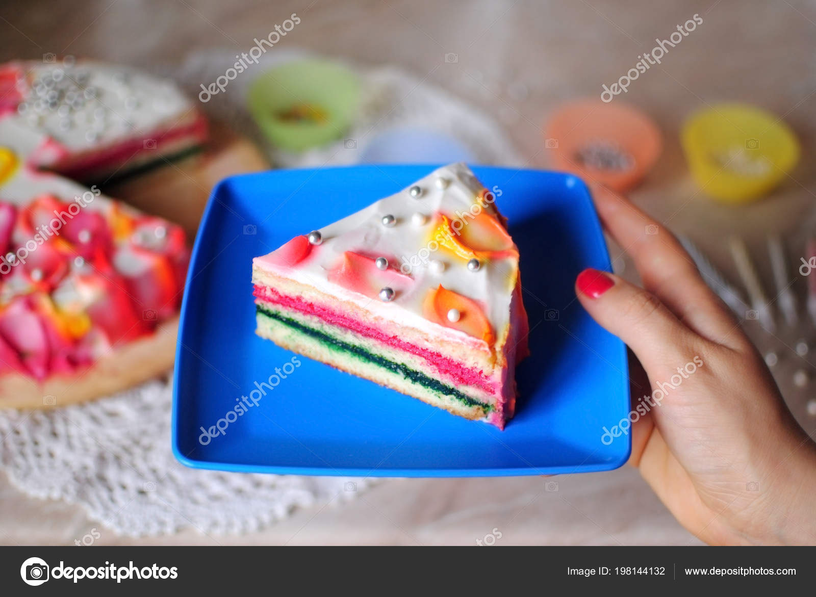 Birthday Cake Festive On A Marble Table Stand In Female Hands Photo By OlhaSafronova
