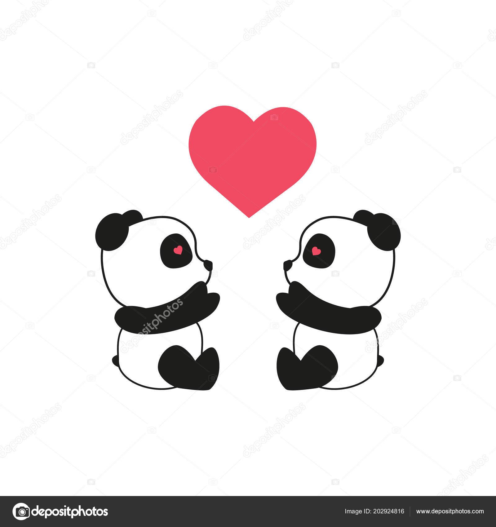 Dibujo Oso Panda Dos Pandas Con Corazón Día San Valentín Vector De