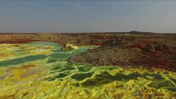 Ethiopia. Flying over abstract patterns of Dallol volcanic crater, surreal natural landscape.