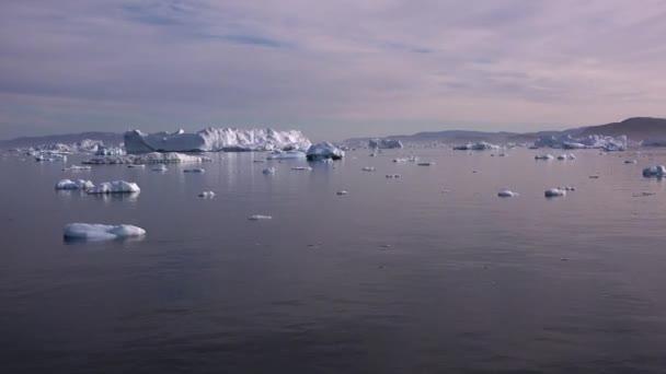 Greenland. Icebergs drift in Arctic sea