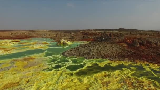 Ethiopia. Dallol Lake. The colorful landscape of Dallol lake in Crater of Dallol Volcano. Lake Dallol with its sulphur springs