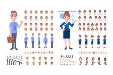 Front, side, back, 3/4 view animated characters. Business Man and woman creation set with various views, hairstyles and gestures. Cartoon style, flat vector illustration.
