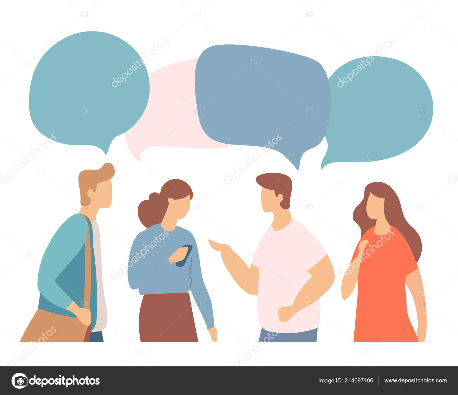 Young People Characters Colorful Dialog Speech Bubbles