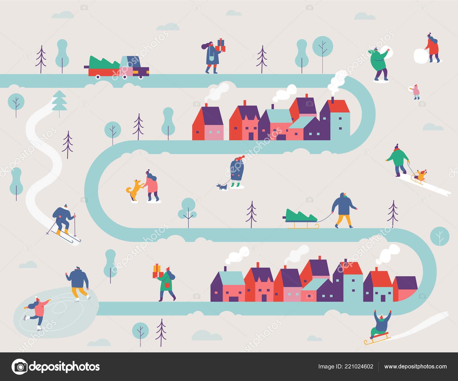 Winter Outdoor Activities Snowy City Background People