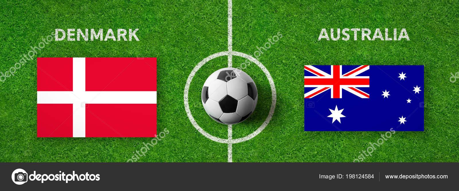 Voetbalwedstrijd Denemarken Australie Stockfoto