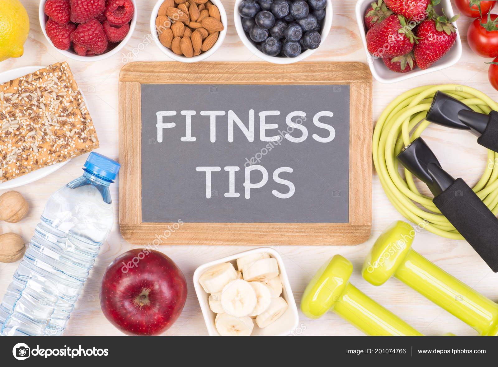 Frase Fitness Consejos Escrito Una Pizarra Pequeña Entre Los