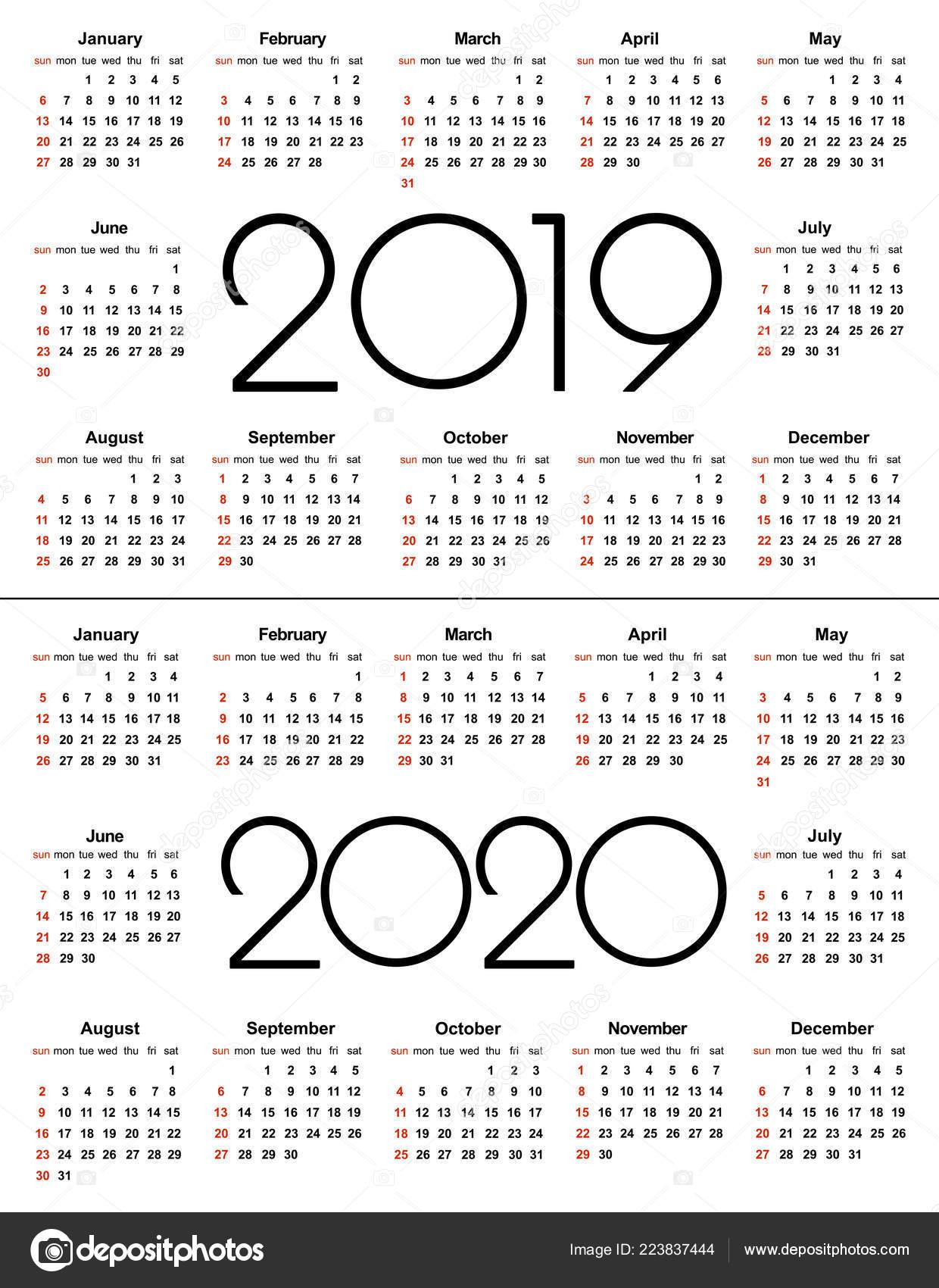 Calendario 2020 Mexico Con Dias Festivos Para Imprimir.Calendario 2019 Ano 2020 Simple Vector Plantilla Plantilla